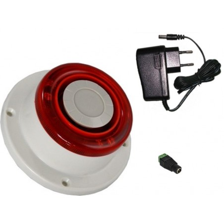 Alarmsirene med rød LED flash