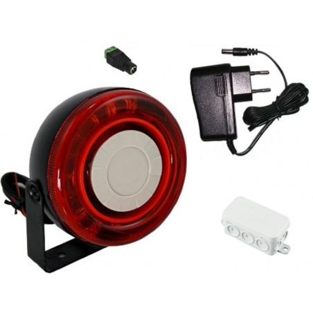 Alarmsirene udendørs med rød LED flash