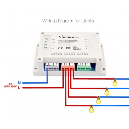 Trådløs 4-kanals tænd/sluk modtager (WiFi)